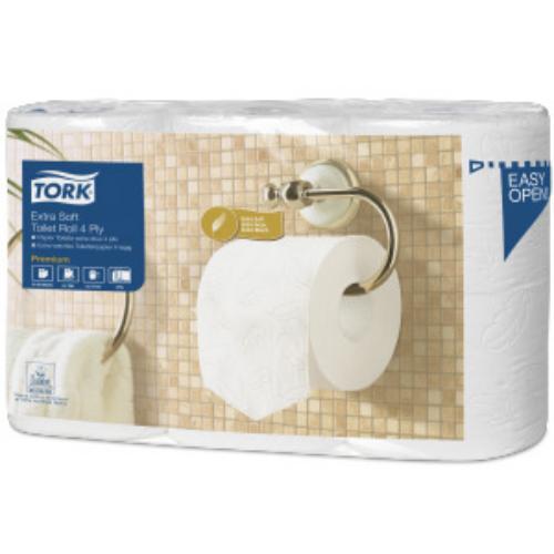 Tork toalettpapír T4 kistekercses Premium extra soft, 4r., fehér, 19,5m/tek, 153 lap, 6tek/csg, 7csg/#