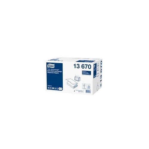 """Tork szalvéta adagolós N4 """"Xpressnap"""" Premium Extra soft levélmintás fehér, 2r., 1/4, 21,3X33cm,  500db/csg, 4000db/#"""
