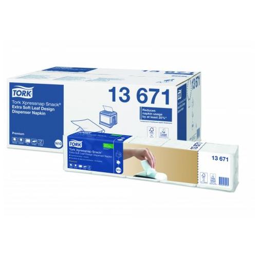 """Tork szalvéta adagolós """"Xpressnap Snack"""" N10 Premium Extra soft levélmintás fehér, 2r., 1/4, 21,6X21,6cm,  500db/csg, 4000db/#"""