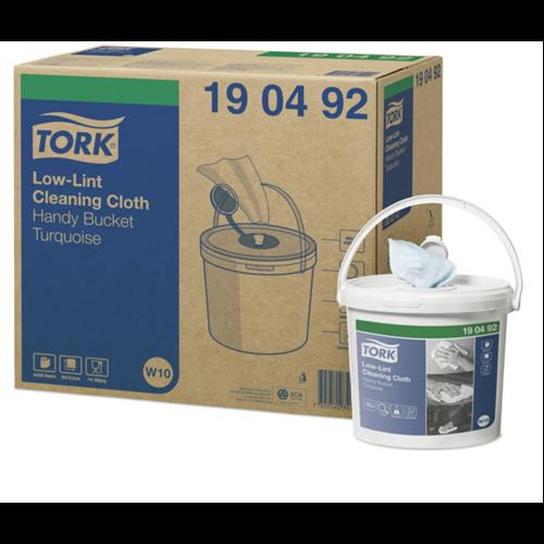 Tork tekercses tisztítókendő W10 szöszszegény Premium, türkiz, 60m/tek, hordozható vödörrel, 4tek/#
