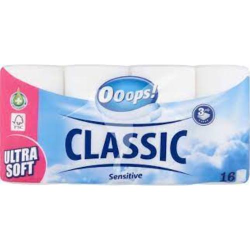 Ooops! toalettpapír 150 Premium kistekercses (3r., hófehér, 150lap, 16tek/csg, 3csg/#)