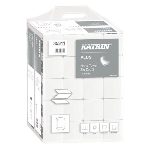 Katrin kéztörlő Plus ZigZag 2r., hófehér, 200lap/csg, 20csg/#