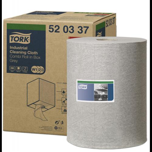 Tork ipari tisztítókendő, dobozos kombi tekercses W1/W2/W3 Premium, szürke, 1r., 148,2m/390lap/tek