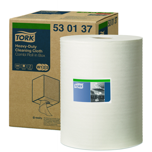 Tork ipari papír W1/W2/W3 Multipurpose Cloth 530 Uniroll, dobozos Kombi tekercses, fehér, 1r., 106m/tek